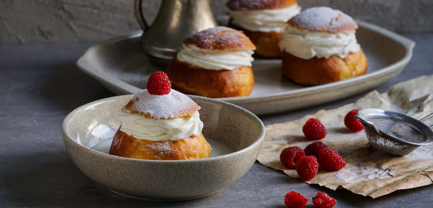 Semla or semlor, vastlakukkel, laskiaispulla is a traditional sweet roll made in various forms in Sweden, Finland, Estonia, Norway, Denmark, especially Shrove Monday and Shrove Tuesday